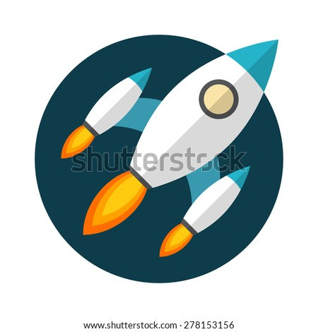 Rocket launch, Flat design, vector illustration, isolated on white background - stock vector