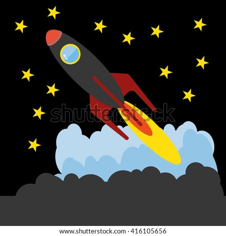 Rocket Launch, Flying through Sky and Stars with Clouds. Spaceship with round porthole and burning flames. Digital vector illustration.