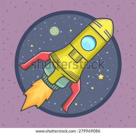 Rocket launch into space with stars and planet in background. Vector Illustration. - stock vector