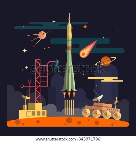 Rocket launch on space landscape background. Planets, satellite, stars, moon rover, comets, moon, clouds. Vector illustration in flat style design. - stock vector
