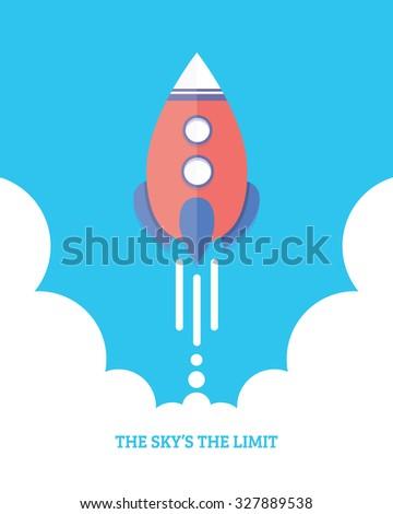 Rocket Launch Startupinspiration Concept Flat Design Stock Vector