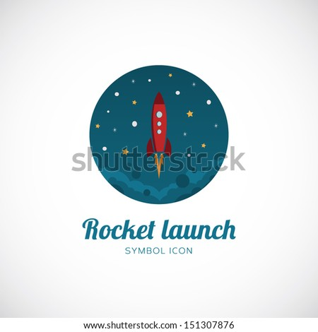 Rocket launch vector symbol icon or logo template - stock vector