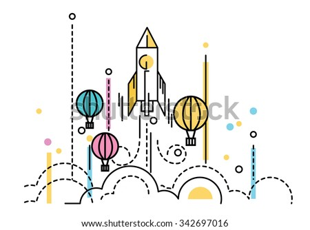Rocket launching over the hot air balloons. Business competition concept. flat line design. Vector illustration - stock vector