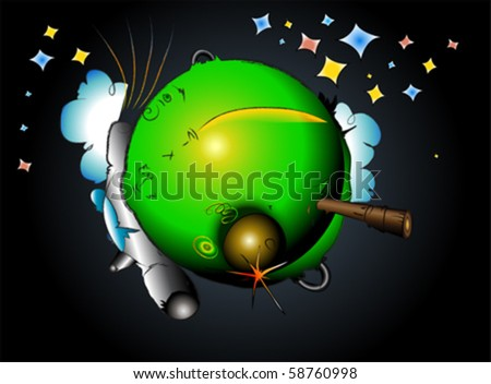 rocket on earth space travel, vector - stock vector