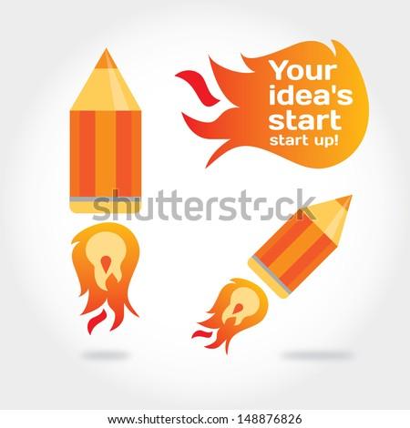 Rocket pencil. Illustration about idea's quick start - stock vector