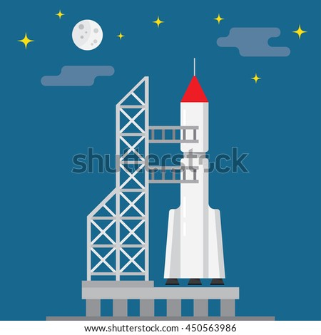 Rocket ready to launch on a blue background, vector illustration - stock vector