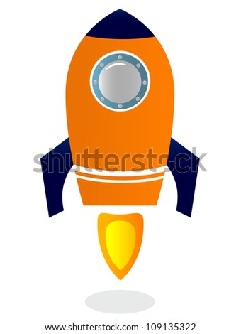 Rocket Ship isolated on white ( blue & orange ) - stock vector