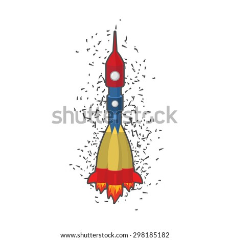 Rocket space ship on a white background. Vector illustration.  - stock vector