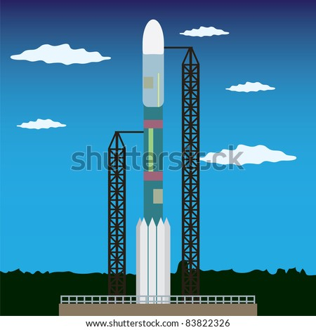 Rocket standing on the platform ready to launch in space - stock vector