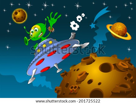 rocket with alien on board the space vector - stock vector