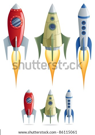 Rockets: Set of 3 cartoon rockets in 2 versions. No transparency used. Basic (linear) gradients. - stock vector