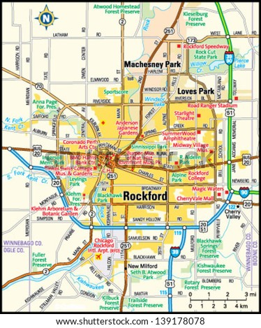 Rockford Illinois Area Map Stock Vector 2018 139178078 Shutterstock
