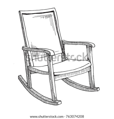 rocking chair drawing. Rocking Chair Isolated On White Background. Sketch A Comfortable Chair. Vector Illustration. Drawing D