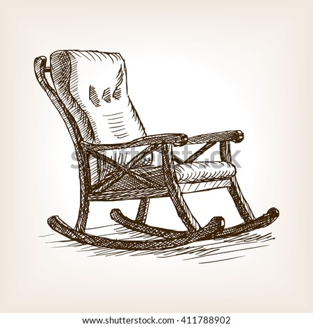 rocking chair drawing. Rocking Chair Sketch Style Vector Illustration. Old Engraving Imitation. Drawing P