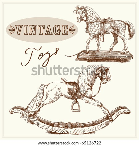 rocking horse-hand drawn vintage toys - stock vector