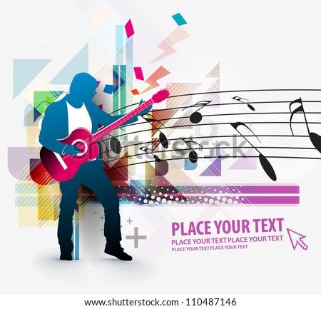 Rockstar playing on guitar, vector - stock vector