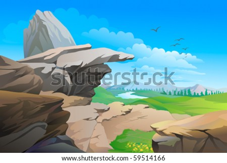 Rocky hills , river and vast blue sky - stock vector
