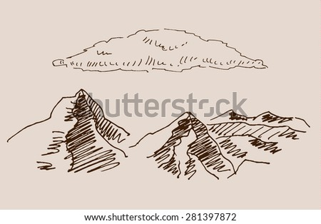 Rocky mountain scenery landscape, with rocks, clouds, in engraving etching hand drawing sketch style, for extreme sport, adventure travel and  tourism design