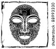 rococo mask black and white with frame - stock photo