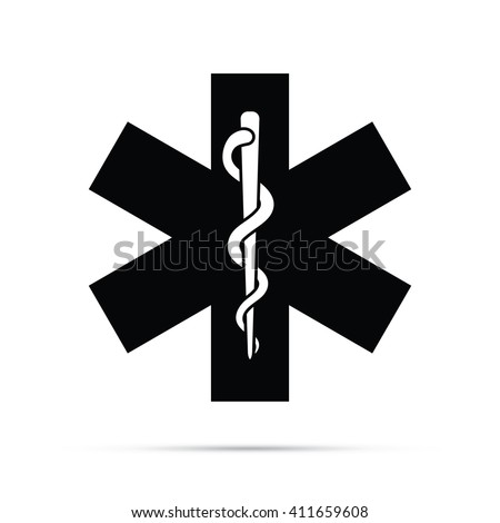 Rod Asclepius Snake Staff Medical Symbol Stock Vector 411659608