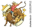 Rodeo Cowgirl riding a bull, logo design with space for text, isolated - stock vector