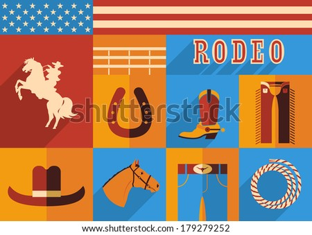 Rodeo horse set of wild west icons.Vector illustration of flat design style - stock vector