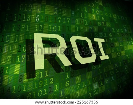 ROI word isolated on internet digital background  - stock vector