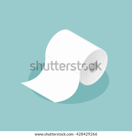 Roll of toilet paper isometrics. Special paper for wiping. paper product used in sanitary and hygienic purposes.   - stock vector