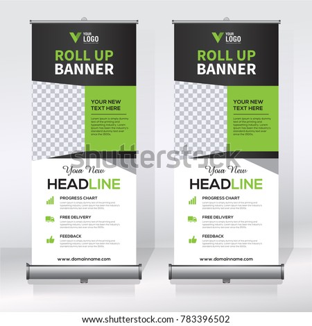 Roll Banner Design Template Abstract Background Stock Vector - Retractable banner template