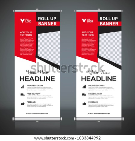 roll banner design template vertical abstract stock vector