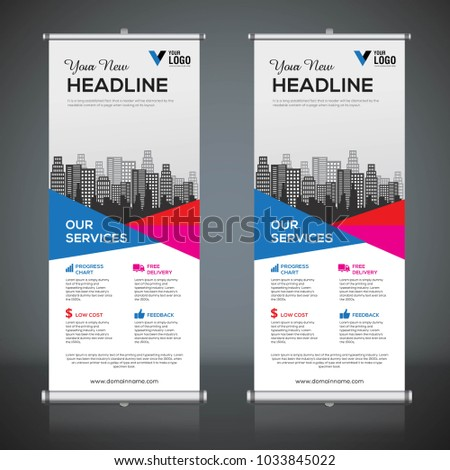 roll banner design template vertical abstract stock vector 2018