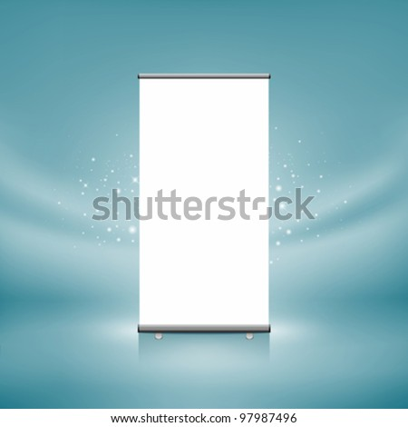 Roll up banner display, blank, blue curtain in the background. vector illustration - stock vector