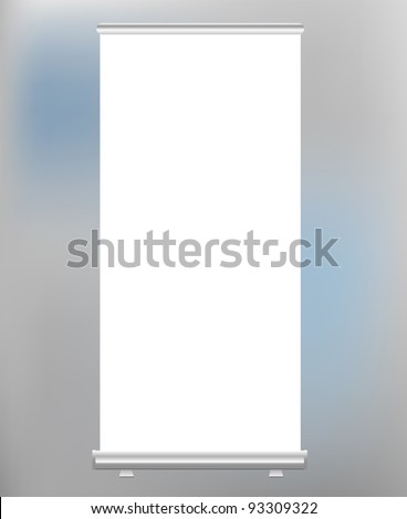 roll up banner display, blank, vector format - stock vector