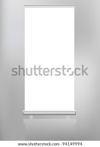 roll up banner display,free copy space, vector format - stock vector