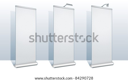 Roll up banner display set for design and presentation purposes - Vector - stock vector