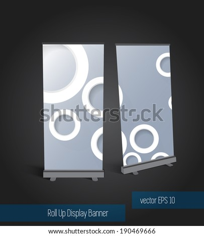 Roll up banner display template for designers - stock vector