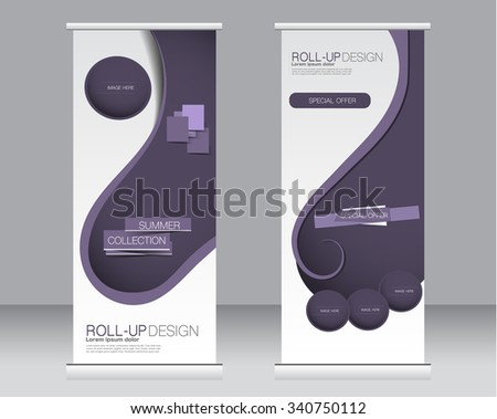 Roll up banner stand template. Abstract background for design,  business, education, advertisement.  Purple color. Vector  illustration. - stock vector