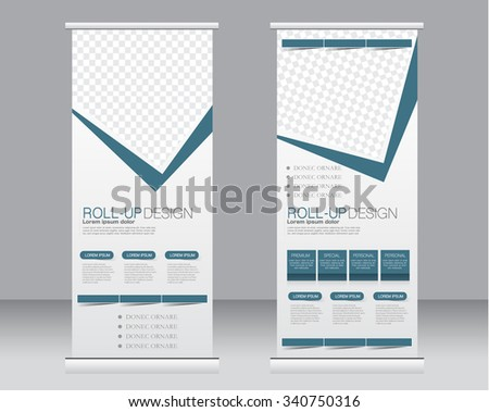 Roll up banner stand template. Abstract background for design,  business, education, advertisement.  Blue color. Vector  illustration. - stock vector