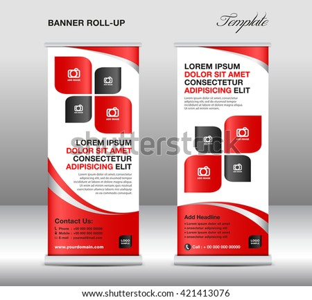 Roll up banner stand template, stand design,banner template,Red banner, advertisement,flyer design,vector illustration - stock vector