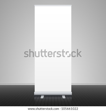 Roll up banner stand. Vector. - stock vector