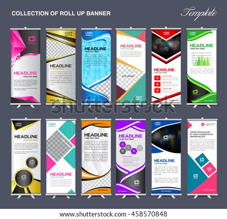roll banner template collection stand template stock vector 458570848 shutterstock. Black Bedroom Furniture Sets. Home Design Ideas