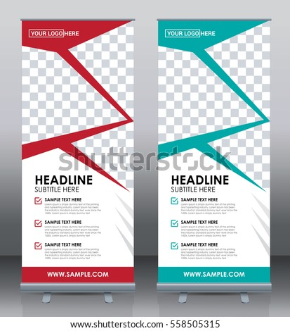 roll banner template design brochure flyer stock vector 558505315 shutterstock. Black Bedroom Furniture Sets. Home Design Ideas
