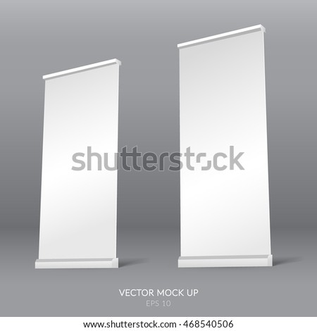 Roll up blank template. Promotion stand. Realistic vector illustration.