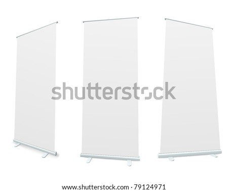 Roll-up blank white display realistic vector illustration. - stock vector