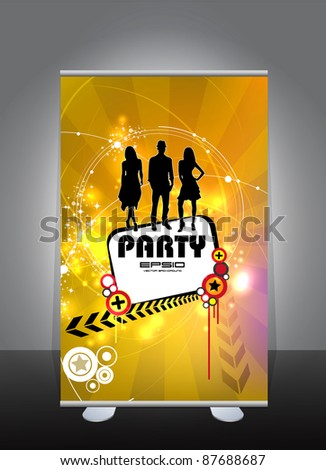 Roll-up with music event subject - stock vector