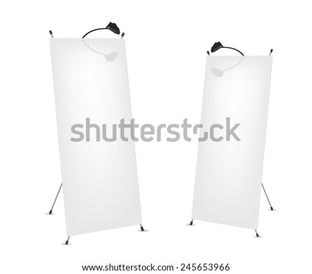 Roll up x-stand banner illustration - stock vector
