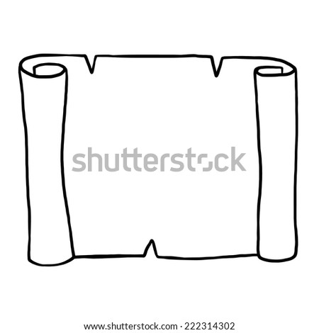 rolled of paper / cartoon vector and illustration, black and white, hand drawn, sketch style, isolated on white background. - stock vector