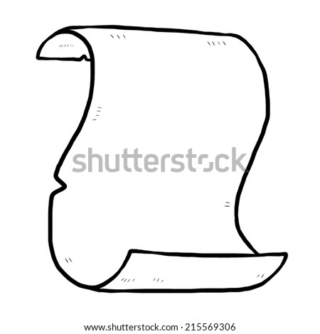 rolled up paper scroll / cartoon vector and illustration, black and white, hand drawn, sketch style, isolated on white background. - stock vector
