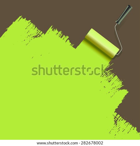 roller brush painting with green - stock vector