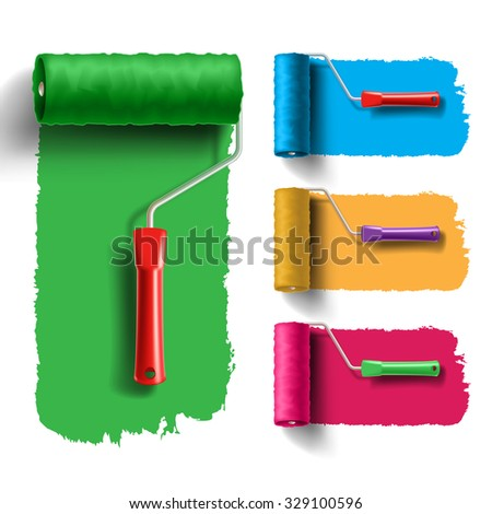 roller brush set with color paint track. Creative, decorating and renovation tool - stock vector